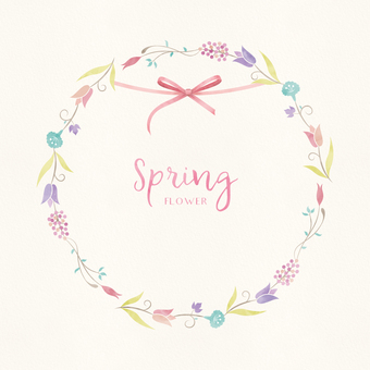Spring background frame 016 watercolors garland