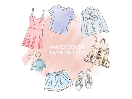 Watercolor fashion items
