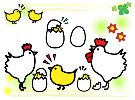 Chicks with eggs and chicken