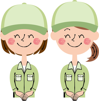 Worker Female 2 people Front Guide Hat Green Smile