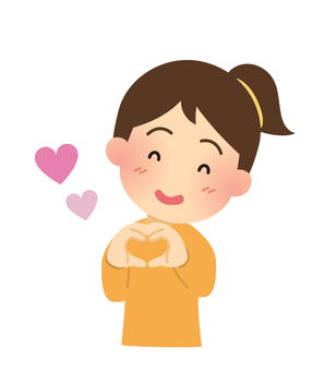 Illustration of a woman making a heart mark by hand