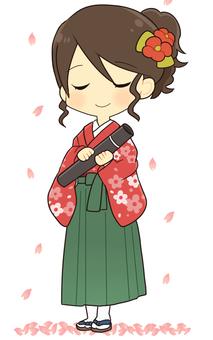 Graduates and Sakura (Hakama)