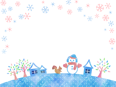 Winter frame snowman and snowy city