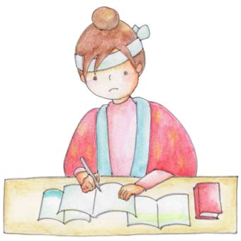 Girl studying for entrance exam