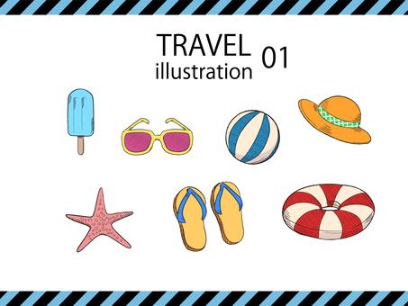 Travel illustration set 01 color version