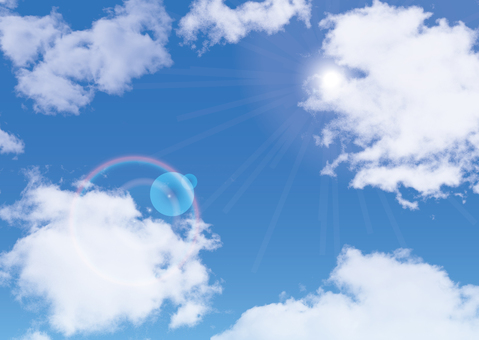 Blue sky Sunny sunlight flare sky blue background picture