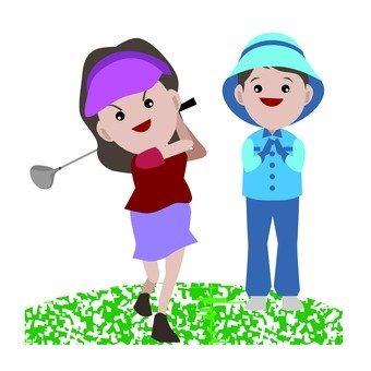 Golfer and Caddy