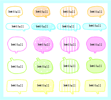 Pastel colored speech bubble
