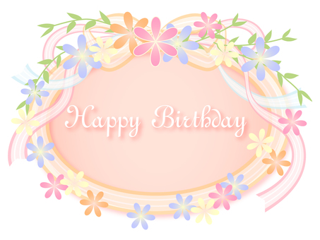 Birthday card ~ Flowers and ribbon ~