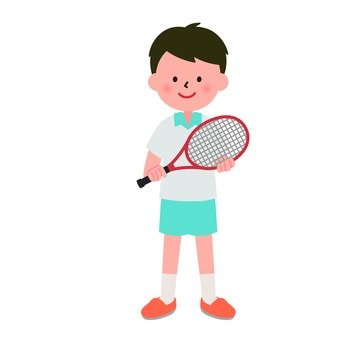 A boy with a racket