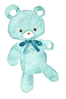 Light blue teddy bear watercolor