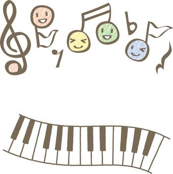 귀여운 음표 캐릭터와 피아노 세트