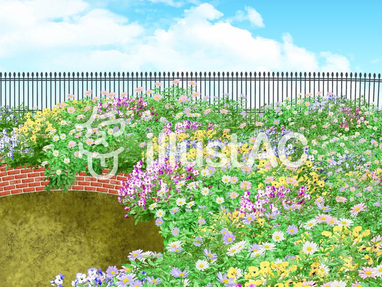 華やかな花壇のイラスト