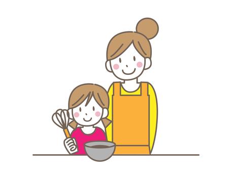 與父母和孩子一起做飯