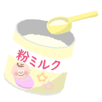 Cup milk powder with a spoon