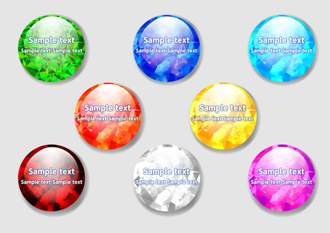 Colorful polygon circular glossy background material set