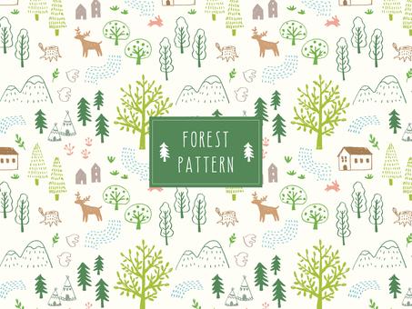 鉛筆で描いた森のパターン_2