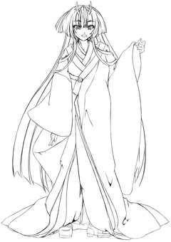 Kashima Maehi, Omachi Kimono 2 (Line drawing)