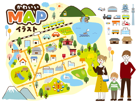 Cute map material illustrations