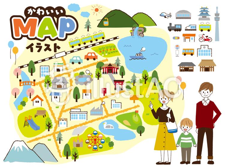 イラスト素材 : 可愛いマップの素材イラスト