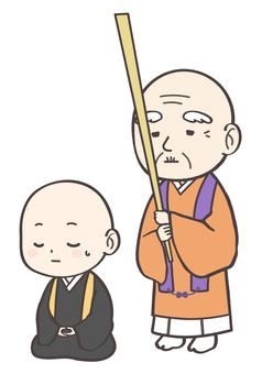An illustration of a monk who organizes Zen meditation