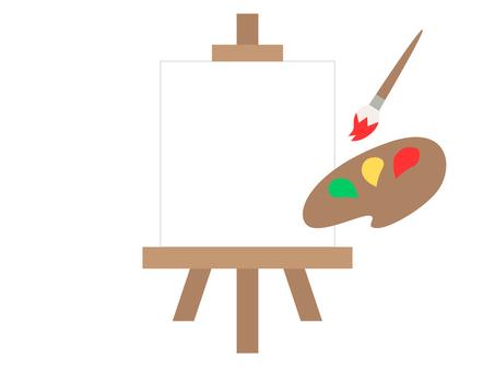 畫架,畫筆和調色板(顏色)