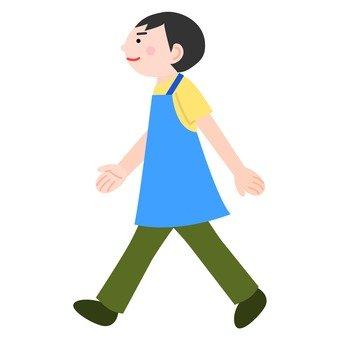 Male in apron (walking)