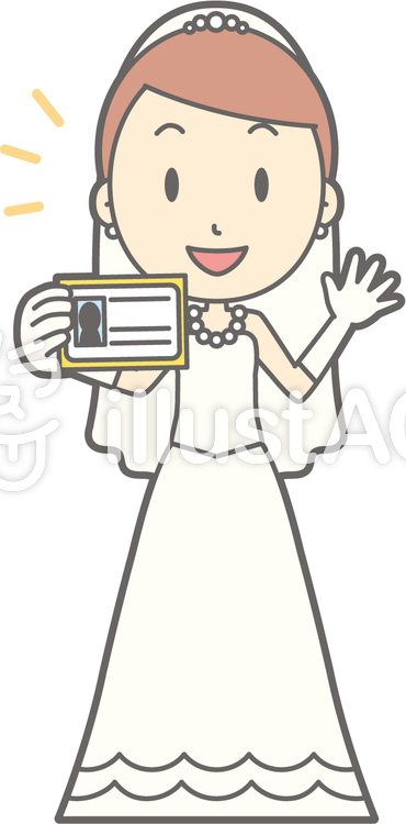 新婦ドレス-身分証明-全身のイラスト