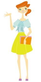 A woman in summer attire