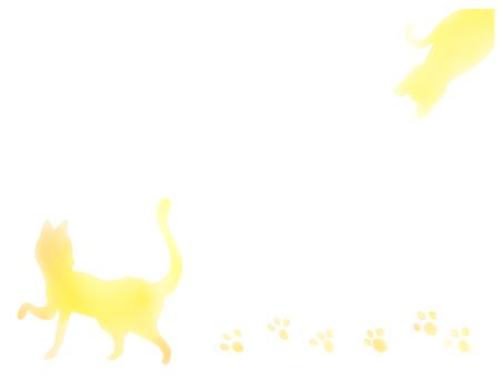 고양이의 메시지 카드 노란색