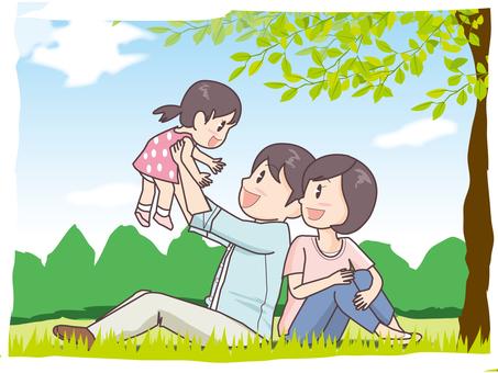 家庭和夏日風景