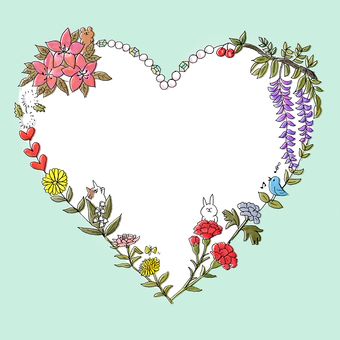 Heart bouquet, background, green