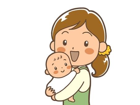 Mama who hugged the baby