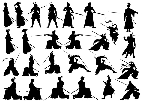 Samurai silhouette set
