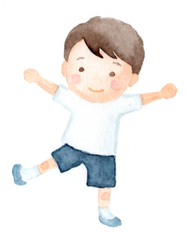 Boy drawing with watercolor