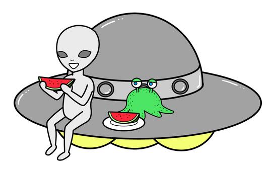 Alien eating watermelon