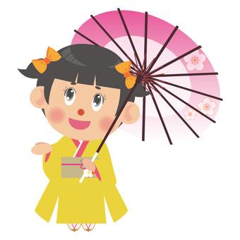 A woman in a kimono (umbrella / twin tail)