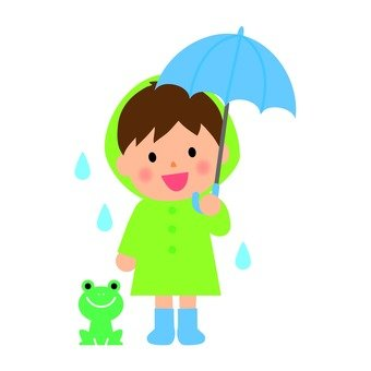 A boy with an umbrella and a frog