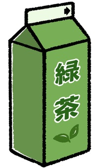 Illustration of green tea in a paper pack