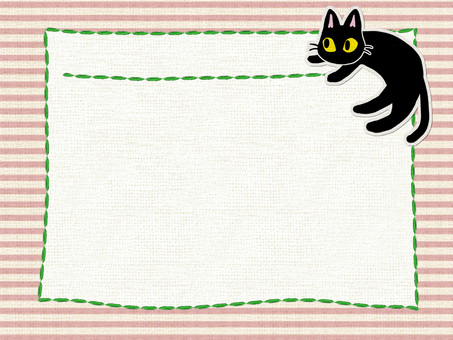 Black Cat Cotton Card (Pink)