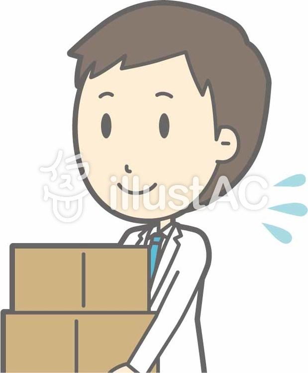 青年医師-荷物運び-バストのイラスト