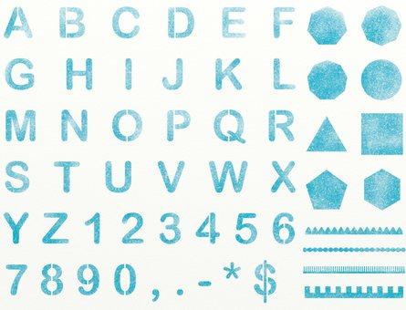 Alphabetical number blue