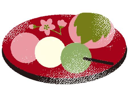 Three color dumpling and Sakura Mochi 001