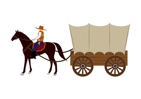 Horse carriage (Horse carriage: with cowboy)