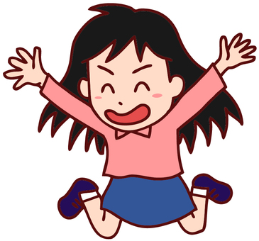 Illustration of a girl to jump