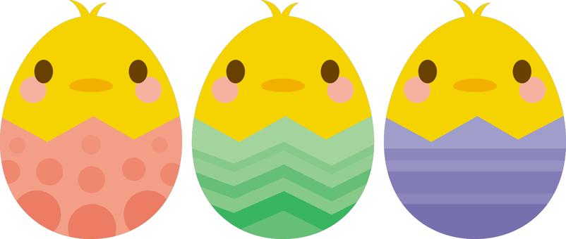 부활절 달걀 병아리 3 색