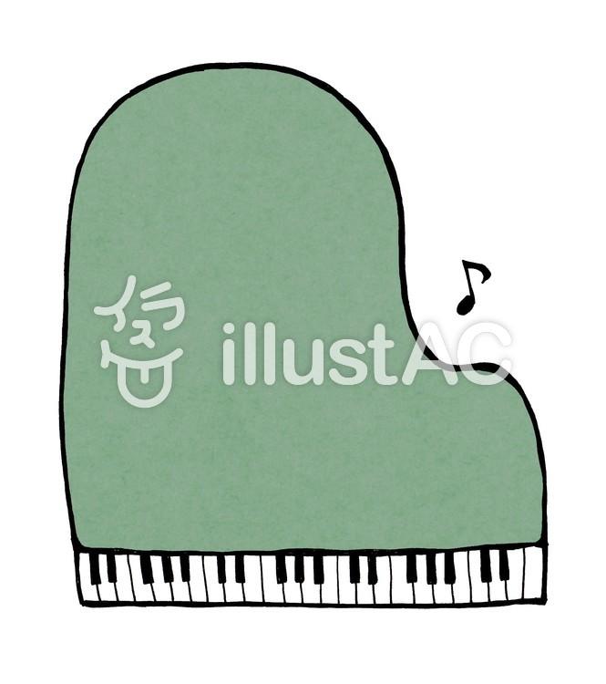ピアノの枠_線なし_緑のイラスト