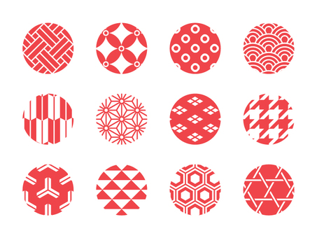 Japanese pattern 12 kinds of vermillion