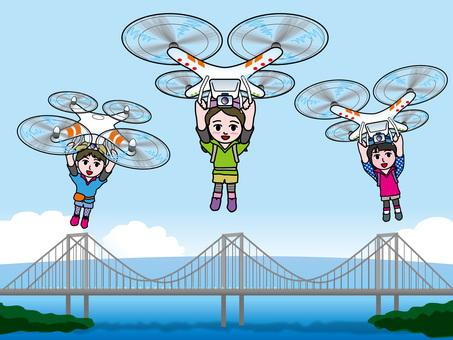Mountain Girl Flying with a Drone (10) Suspension Bridge