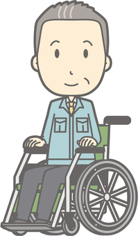 Middle-aged man work clothes - wheelchair smile - whole body